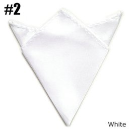 Wholesale Uniform Square - 5pcs  Lot Gentlemen Solid Pocket Square Uniform Satin Handkerchief White hanky