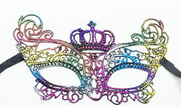 Wholesale Sexy Fox Cosplay - Colorful Bronzing Masquerade sexy lace mask black Costume party special wacky mask Half mask charming Cosplay dinner mask, fox mask