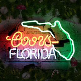 Wholesale Billiards Signs - Cool Design Florida Led Neon Bar Light for Party Real Glass Beer Bar Neon Light Signs for Home Shop Store Beer Bar Pub Restaurant Billiards