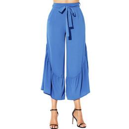 Wholesale Women Straight Elegant Black Pants - Self Belted Wide Leg Trousers Straight Elegant Black High Waist Side Ruffle Long Palazzo Pants Big Size 2xl Lc77066