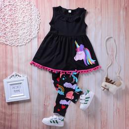 15b6a1df61d1 2018 Summer Baby Girl Clothes Set Unicorn Sleeveless T-shirt Vest Tops + Pants  Leggings 2PCS Kids Suit Streetwear Casual Girls Outfits Set