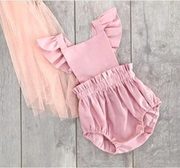 c0933d8294b 2018 INS Baby girl Infant Toddler Summer clothes Strap Lace Romper Onesies  Jumper Jumpsuits Diaper covers Bloomers Ruffle Sleeve Hollow Back