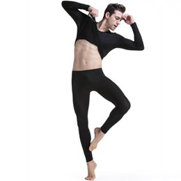 Wholesale Translucent Men Underwear - Brand Men 2pcs Ultra-thin Silk Translucent Underwear Set Mens Home Sleepwear Long Johns Tops Bottom Elastic Underpants M L XL