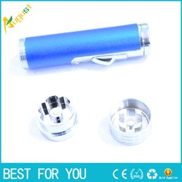 Wholesale herb grinding machine - New hot Lighter Grinding Machine Herb Tobacco Spice Smoke smoking metal pipe vaporizer click n vape Quickly Aluminum herb grinder