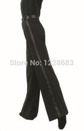 Envío gratis cinta de satén negro en el panel lateral Salón de baile Tango Salsa Pantalones de samba Dancing Boy Mens Latin Dance Pants desde fabricantes