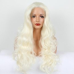 Wholesale Mix Blonde Lace Front - Lace Front Wigs blonde white mixed color loose wave synthetic lace front wigs natural blonde resistant fiber hair for white woman kabell wig