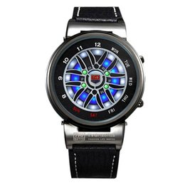 Wholesale Led Car Watch - TVG Men Watches Creative Design Car Wheel Led Disply Analog Smart Watches Men Outdoor Sports Dive Watch 30M Waterproof