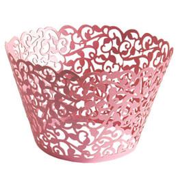 Wholesale Uk Wrap - Wholesale- GSFY-10 pcs Filigree Vintage Cupcake Wrappers Wraps Cases - Wedding, Birthday, UK seller(Pink)