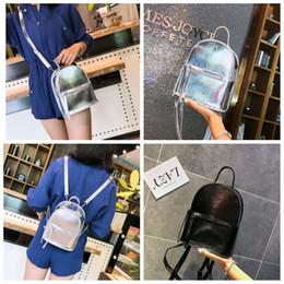 dbed01f4af Ragazze PU piccolo scintillante Laser zaino in pelle argento nero per le donne  borse a tracolla borse da viaggio all'aperto casual Shcool 5pcs AAA659 ...