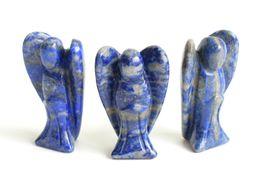 2019 cristales para el feng shui 1.5 PULGADAS Altura Tamaño Pequeño Natural Caído Chakra Piedras Tallado Cristal Reiki Curación Lindo Guardián Ala de Ángel Estatuilla cristales para el feng shui baratos