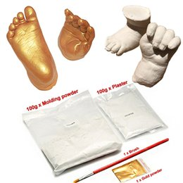 Wholesale Wholesale Baby Keepsakes - 1 Set Silver Gold 3D Plaster Handprints Footprints Baby Hand & Foot Casting Mini Kit Keepsake Gifts