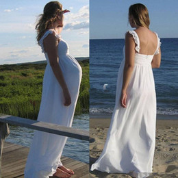 Wholesale Strapless Empire Maternity Wedding Dress - Cheap Spaghetti Empire Beach Wedding Dresses For maternity Chiffon Floor Length Elegant Beach Plus Size Bridal Gowns Custom Made