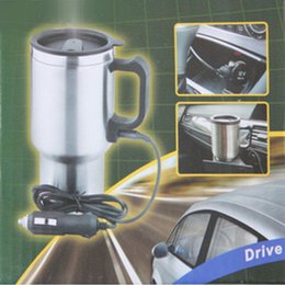 Wholesale 12v Coffee - Stainless Steel double wall Heated Travel coffee Mug ixaer 12V 450ml In-Car Heated MugCup Vacuum Insulated car cup USB plug bottle