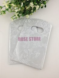 Wholesale Jewelry Bags Plastic Designs - Wholesale- Wholesale 150pcs Dots Design Silver Plastic Bag 15X9cm Jewelry Boutique Gift Packaging Bag Favor Plastic Gift Bags With Handle