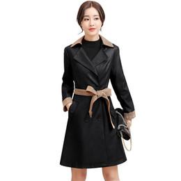 Nuovo Autunno Inverno Plus Size Faux Coat Giacca in pelle morbida PU Giacca in pelle PU risvolto addensato imbottito caldo cappotto femminile M-4XL da maniche in pelle con giacca da uomo fornitori