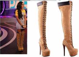 20168new moda tamanho grande dedo do pé redondo coxa alta botas lace-up amarelo de salto alto mulheres sapatos sexy personalizado botas botas na moda frete grátis cheap yellow zip up thigh boots de Fornecedores de zip up botas amarelas coxa