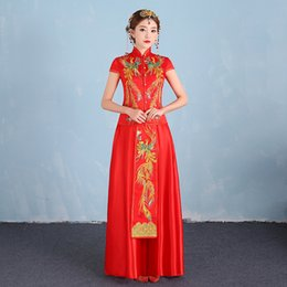 Китай новая вышивка онлайн-New Red Bride Traditions Women Phoenix Embroidery Cheongsam Qipao Wedding Dress Traditional Chinese Dresses China Clothing Store