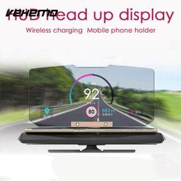 Wholesale hud display gps - wholesale 360 Degree Black Head-Up Display Wireless Charger Phone HUD Stand Car GPS Holder Navigation Projection Bracket