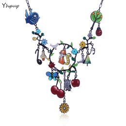 Wholesale Owl Charms Enamel - whole saleYhpup 2017 France Brand Fashion Charm Necklace Enamel Bird Squirrel Owl Flower Fruit Animal Forest Dream Corlorful Necklace Gift