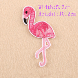 Wholesale Flamingo Accessories - 20pcs 5.3X10.2cm Embroidered Birds Flamingo Patches Iron on Stickers Clothing Applique Sewing DIY Accessory Embellishments