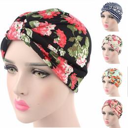 Wholesale Woman Cotton Head Scarf - 9Pcs Lot New Brand Fashion Women Muslim Indian Hat Stretch Floral Chemo Turban Hat Head Wrap Cap Ladies Head Scarf