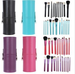 Wholesale Cylinder Makeup Brush Holder - 30 set 12 PCS Makeup Brush Set+Cup Holder Professional 12 pcs Makeup Brushes Set Cosmetic Brushes With Cylinder Cup Holder