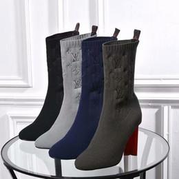 zapatos de mujer tacones abiertos hilo de lana de tejer tobillo botas de cuero genuino a prueba de agua de color puro desde fabricantes