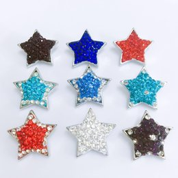 Wholesale star shaped buttons - Wholesales 18mm Star Shaped Ginger Chunks Noosa Buttons 9 Colors DIY Jewelry Rhinestone Alloy Beads for Necklace Bracelets