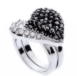 Любовь мальчика девочки кольцо онлайн-Новое прибытие мужчины женщины мода ювелирные изделия 2 шт. любовь сердце Алмаз кольцо муж мальчик отец девушка фестиваль подарок Рождество День рождения