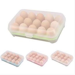 Caixa da caixa do ovo on-line-Frigorífico Ovo Caixa De Armazenamento Caso 15 Ovos Titulares De Armazenamento Caixas De Armazenamento De Cozinha Organização
