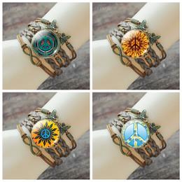 Signos de pulseras online-Signo de la paz mujeres de la joyería de cuero trenzado de la vendimia Cabochon de cristal infinito de múltiples capas pulsera brazalete accesorios de moda