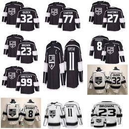 Jersey rápido online-Los Angeles Kings 11 Anze Kopitar 32 Jonathan Quick 8 Drew Doughty 99 Camisetas de hockey negras cosidas Wayne Gretzky