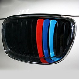 Wholesale Auto Tech - 3Pcs car Stickers Grill Stripes M Sport Tech Auto Vehicle Front Grill Stripe Sticker Car Styling for BMWx1 2 3 4 5 6 series
