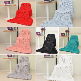 Wholesale Washing Photos - Thick Line Knitted Ultra-thick Yarn Blanket Air-conditioner Quilt Sofa Blanket Hand Woven Acrylic Fibers Photo Taking Props