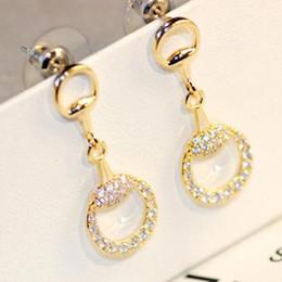 Wholesale korean flower earrings jewelry - Korean Sweet Crystal Zircon Earrings for Women Silver   Gold Filled Hollow Out Round Dangle Earrings Wedding Party Jewelry