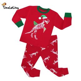 Wholesale Dinosaur Pyjamas - TINOLULING 2-8 years children christmas dinosaur pajamas sets kids sleepwear boys girls stripes pyjamas baby santa pijamas