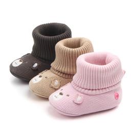 Wholesale crochet snow boots - Winter Warm Non-slip Baby Girl Boy Shoes Bebe Bear Ankle Snow Boots Adjustable First Walker Infant Crochet Knitting Fleece Shoes