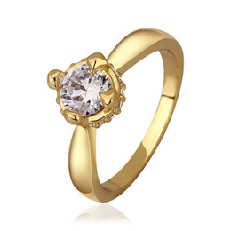 2019 anillo de diamantes de cristal swarovski 18k Gemston Anillos Anillos de compromiso de diamantes Bisutería de moda Marca Boda Swarovski Cristal 18K Anillos de diamantes de cristal chapado en oro de la boda anillo de diamantes de cristal swarovski 18k baratos