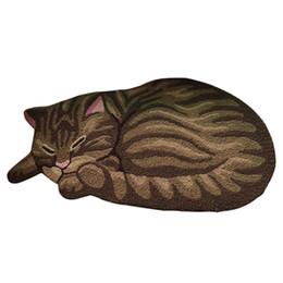 Wholesale Hand Wash Sale - Popular Sale Hand Hooked Hallway Rug Sleeping Cat Shaped Antiskid Doormat For Entrance Door Outdoor Living Room Brown Grey