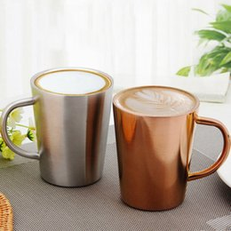 Wholesale Camping Plates Wholesale - Stainless Steel Cup 350ML Double Layer Plated Coffee Cup Heat Insulation Resistance Milk Tea Mug OOA4726
