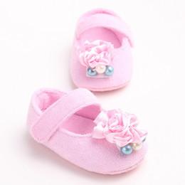 2019 niña de moda vestidos rosa Moda princesa Bead rose zapatos de ballet para bebés y niños pequeños vestido de niña zapatos de suela suave encantadora mocasines recién nacidos del bebé niña de moda vestidos rosa baratos