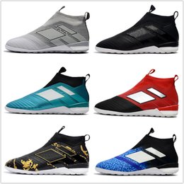 Wholesale Cheap Men High Top Shoes - 2018 ACE Tango 17+ Purecontrol IC cheap indoor soccer shoes football boots high top mens soccer cleats Free shipping