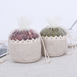 Wholesale Charm Storage - 13x13x7.5cm Natural Jute Bag Round Shape Organza Gift Pouches Storage Linen Bag Favor 20pcs Charm Jewelry Packaging Bags H2135