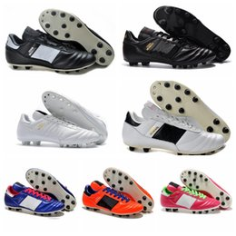 Wholesale Size 45 Boots - Mens Copa Mundial Leather FG Soccer Shoes Discount Soccer Cleats 2015 World Cup Football Boots Size 39-45 Black White Orange botines futbol