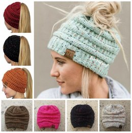 Wholesale Wholesale Ribbed Knit Beanies - CC Ponytail Beanie Hat High Bun Knitted Cap Skull Ribbed Stretchy Winter Warm Hats 14 Colors 60pcs OOA3887