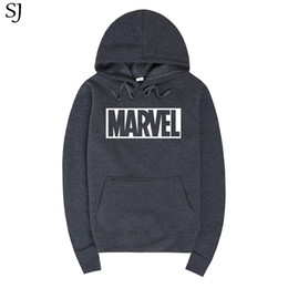 Wholesale Marvel Hats - SJ 2017 New Marvel Letter Print Black Sweatshirt Men Hoodies Fashion Solid Hoody Men Pullover Men's Tracksuits male coats