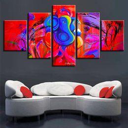 2019 pintura abstracta del elefante Cuadros de la lona Home Decor Framework 5 piezas Ganesha Painting HD Prints Red y Blue Abstract Elephant Head Dios Poster Wall Art pintura abstracta del elefante baratos