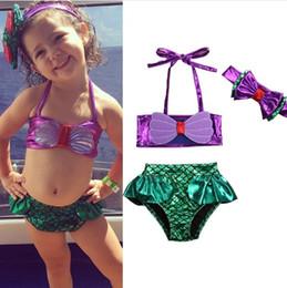 2019 trajes de baño princesa Bikini para niñas pequeñas Set de 3 piezas de baño Traje de baño de sirena con diadema Conjunto de ropa de playa Little Princess trajes de baño princesa baratos