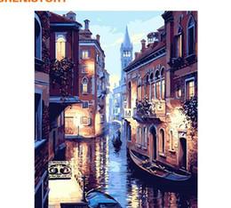 pintura a óleo de arte veneza Desconto Noite paisagem de Veneza sem moldura DIY Pintura A Óleo Digital By Numbers Europa Pintura Abstrata Da Lona Para Sala de estar Arte Da Parede
