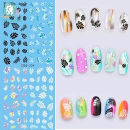 Harajuku nagel online-Rocooart DS234 Fabrik Designer Wassertransfer Nails Art Sticker Kleine Blätter harajuku Nail Wraps Aufkleber Französisch Aufkleber